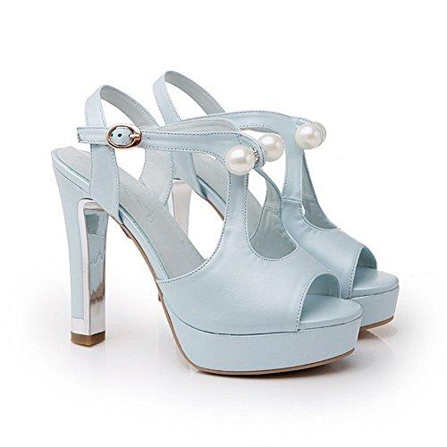 Amoonyfashion Femmes Boucle Haute Talons Pu Solide Peep Toe Sandales Bleu