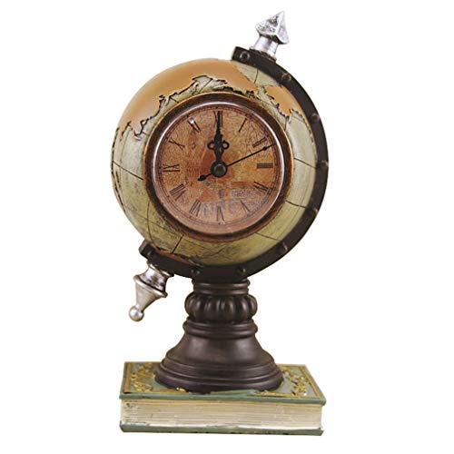 QIAOQ Retro Globe Instrument Clock Tabletop Ornaments Resin Storage Tank Decoration,Green ()
