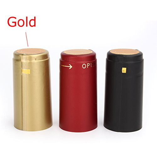 Vivona Hardware & Accessories 100Pcs Heat Shrink Cap PVC Tear Tape Wine Bottle Seal Ring Cover - (Color: Gold) by Vivona (Image #1)