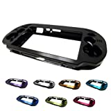 PlayStation PS VITA 1000 Case Cover Aluminum Brushed Metal Plated Plastic + Free Screen Protector (1st Generation, PCH-100x Version) BLACK