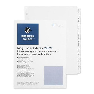 Business Source 3-Ring Plain Tab Divider - 8 x Tab Write-...