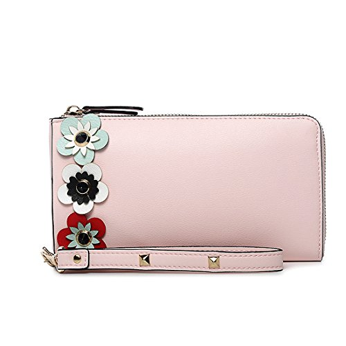 Badiya Flowers Women's Long Leather Card Holder Purse Cellphone Wristlet Wallet by Badiya