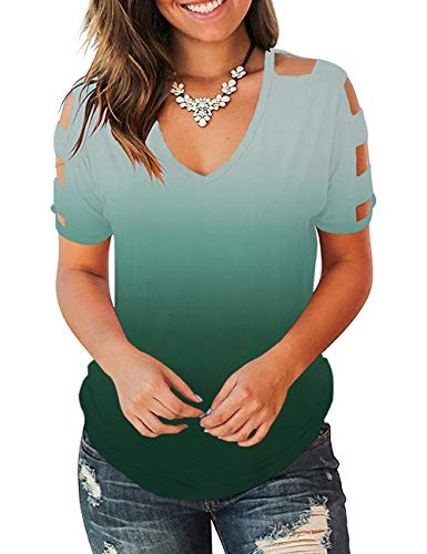Cold Shoulder Short - Eanklosco Womens Summer Short/Long Sleeve Cold Shoulder T Shirts Cut Out Tops V Neck Tunic Blouses (Green-F, X-Large)