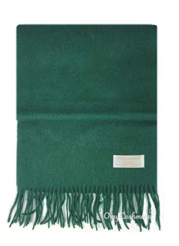 (Men's Wool Cashmere Plaid Stripes Winter Scarf Neck Warmer (Solid Green))