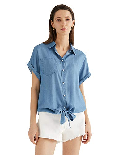 Escalier Women's Button Down Shirt Chambray Tencel Short Sleeve Denim Shirt Tops Light Blue Large