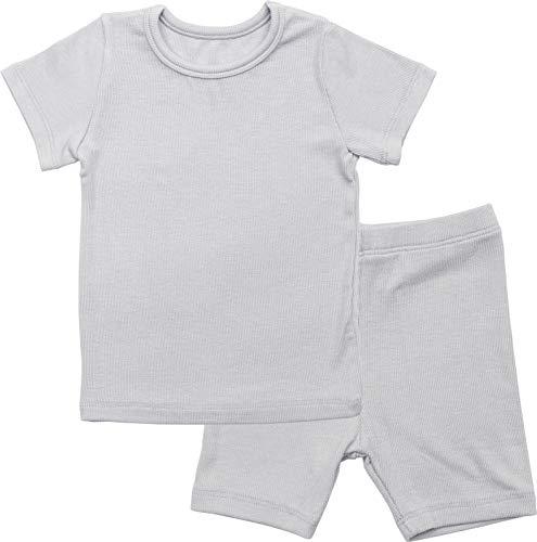 AVAUMA Newborn Baby Little Boys Snug-Fit Pajamas Summer Short Sets Pjs Kids Clothes (L/Gray) (Cotton Ribbed Pajama Set)