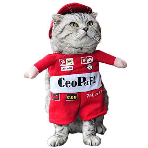 D-ModernPet Dog Costume - Pet Costume Suit Funny Cat Racer Standing Costume Cosplay Clothes for Small Medium Dogs Puppy Party Halloween Jacket Coat -