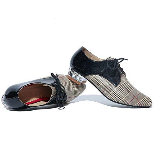 Coolcept Femmes Bout Pointu Mocassins à Talon Bas Chaussures Lacets Check White Eu8WnAST5
