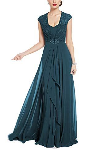 Yisha Bello Women's Long Chiffon Mother of The Bride Dress Cap Sleeve Lace Evening Formal Dress 16 Teal