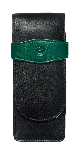 Pelikan Leather Triple Pen Case, Black/Green (924092) by Pelikan