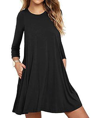 LILBETTER Women's Pockets Dress Casual Swing T-shirt Dresses