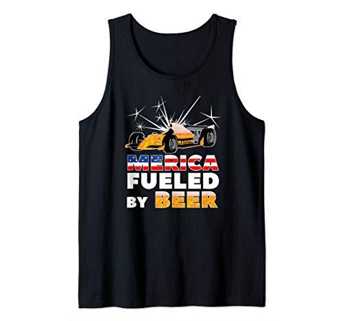 American Racing Tank - Merica Fueled by Beer | American Car Racing & Drinking Fan Tank Top