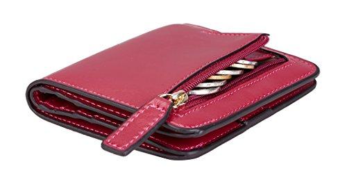 NapaWalli Womens Rfid Blocking Small Compact Bifold Luxury Genuine Leather Pocket Wallet Ladies Mini Purse with ID Window (wax rose red)