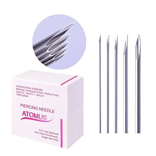 ATOMUS 100 Mix Body Piercing Needle Sizes 12g 14g, 16g, 18g and 20g Body Art Tattoo Equipment Supplies Tattoo Machine Tool Supply Body Piercing Tool (MIX SIZE) from ATOMUS