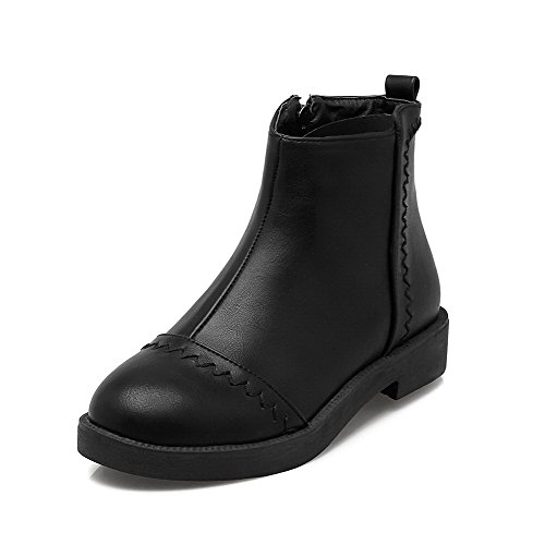 Low Toe Top Black Heels Zipper Solid Women's Closed Boots WeiPoot Round Low p6n155