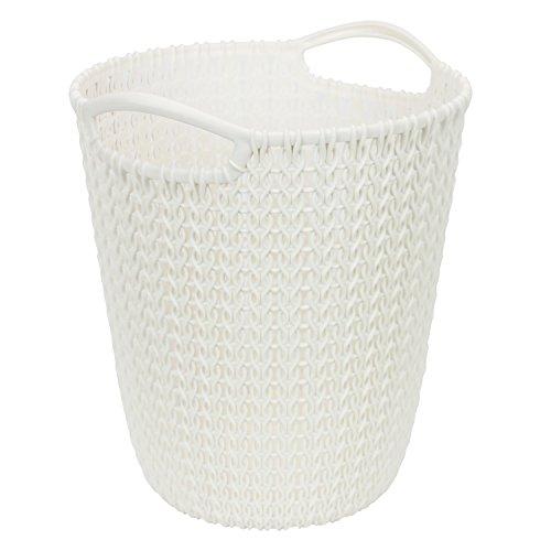 7 L Papierkorb Behälter rund Korb KNIT creme Flechtoptik Tragegriffe Kunststoff