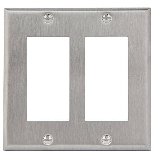Brushed Nickel Decorator (Enerlites 7732-STICKERED Decorator Switch Metal Wall Plate by 7732 Stainless Steel Outlet Cover, 2-Gang Standard Size, Unbreakable, Decorative GFCI Receptacle Power Light Panel Fixture)