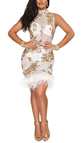 Kearia Women Sexy Sequin Mesh Nude Illusion Feather Sleeveless Bodycon Club Party Mini Dress White Large