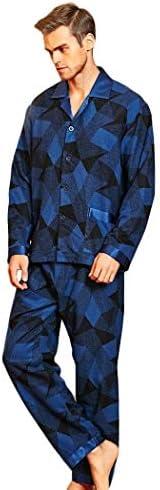 ンパジャマ メンズ長袖パジャマナイトウェアセット100%マルベリーシルク軽量パンツ肥厚ブラシ暖かい部屋着 -4561