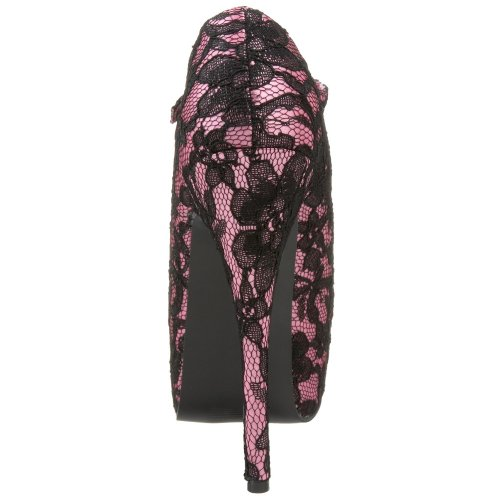 TEEZE Bordello Hot Pink Black Lace 07L fvxwqRvd