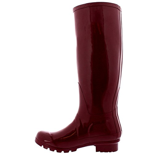 Gloss Winter Wellies Waterproof Womens Burgundy Rain Tall Original Boots Wellington watqtER