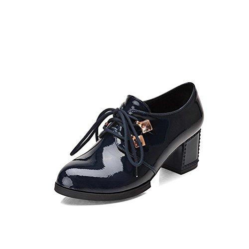 Allhqfashion Damesschoenen-hakken Solide Veter-lakleder Ronde Pumps Gesloten-schoenen Blauw