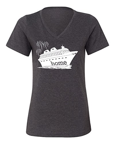 DisGear Women's Disney Cruise Is My Home. T-Shirt, Dark Heather Grey, X-Large