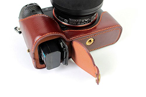 BolinUS Handmade Genuine Real Leather Half Camera Case Bag Cover for Sony Alpha a7 II, a7R II, & a7S II Opening Version + Hand Strap -Coffee