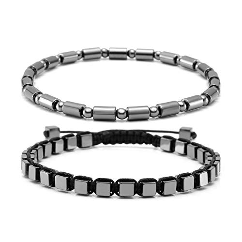 CrystalTears Unisex Magnet Bracelet 4mm Titanium Coasted Black Hematite Stone Beads Stretch & Macrame Braided Bracelets,Couple -