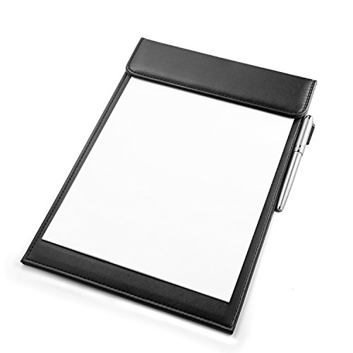 Business Plastic Clipboard - Nekmit PU Leather Letter Size Office Clipboard Business Meeting Magnetic Writing Pad-Black