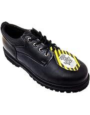 "G4U Z-7426 Men's Steel Toe Work Boots Black Leather 4"" Oxfords Oil Resistant Shoes Width: Wide (W or 2E)"