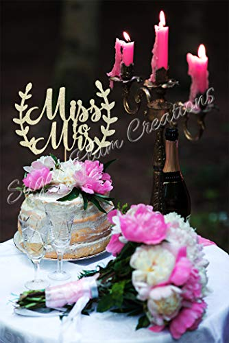 Miss to Mrs Cake Topper with Leaves