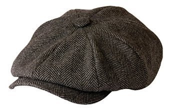 'Shelby' Newsboy Grey Herringbone Cloth Cap By Gamble & Gunn Style of TV's Peaky Blinders (57cm)