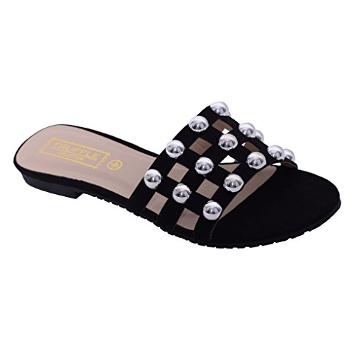 Womens Flat Studded Sandal Slider Summer Holiday Slip On Smart Ladies Shoe Size Black Faux Suede BqLvY1xOh