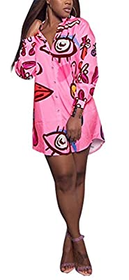Speedle Womens Long Sleeve Button Down Shirt Dresses Digital Graffiti Print Club Party Dress