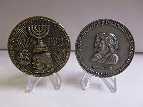(Set of 2 70 Years Israel Temple Coin President Trump American Embassy Jerusalem Challenge)