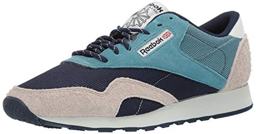 Reebok Men's Classic Nylon Sneaker, Mineral Mist/Collegiate Navy/Light Sand/Polar, 8 M US ()