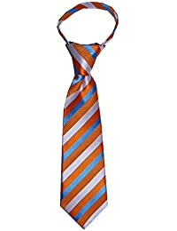 Children's Zipper Tie for ages 1-4 years old, Orange, Baby Blue and White Stripes Toddler Tie