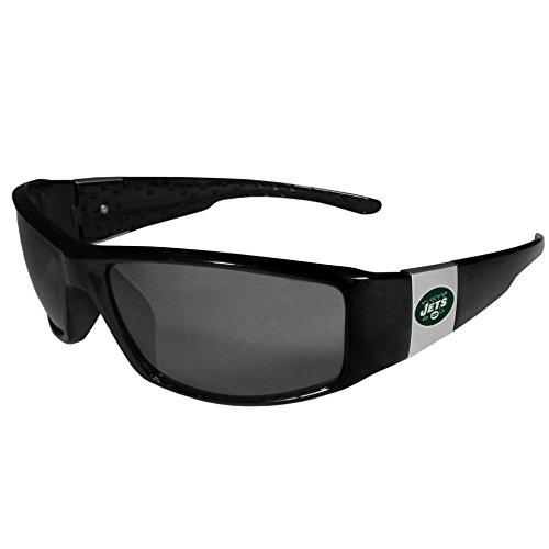 Siskiyou NFL New York Jets Unisex Sportschrome Wrap Sunglasses, Black, One Size