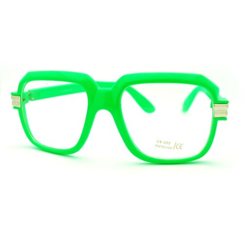 Green Oversized Square Clear Lens Glasses Hip Hop Party Fashion - Party Glasses Oversized
