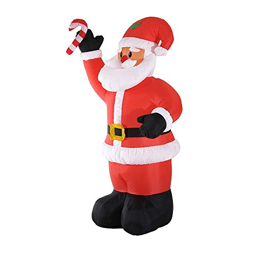 [8' Inflatable Christmas Santa Claus LED Lighted Yard Holiday Decor] (Lawn Gnome Dog Costume)
