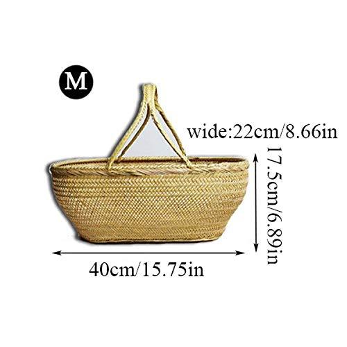(Natural Bamboo Laundry Basket Picnic Cesta Fruit Baskets Kitchen Storage Vegetable Cestas Gift Cesto De Roupa Organizer,M40x22x17CM)