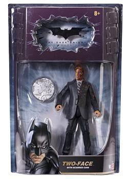 Batman Dark Knight Movie Master Exclusive Deluxe Action Figure TwoFace with Double Sided Coin (Two Knight Face Dark)