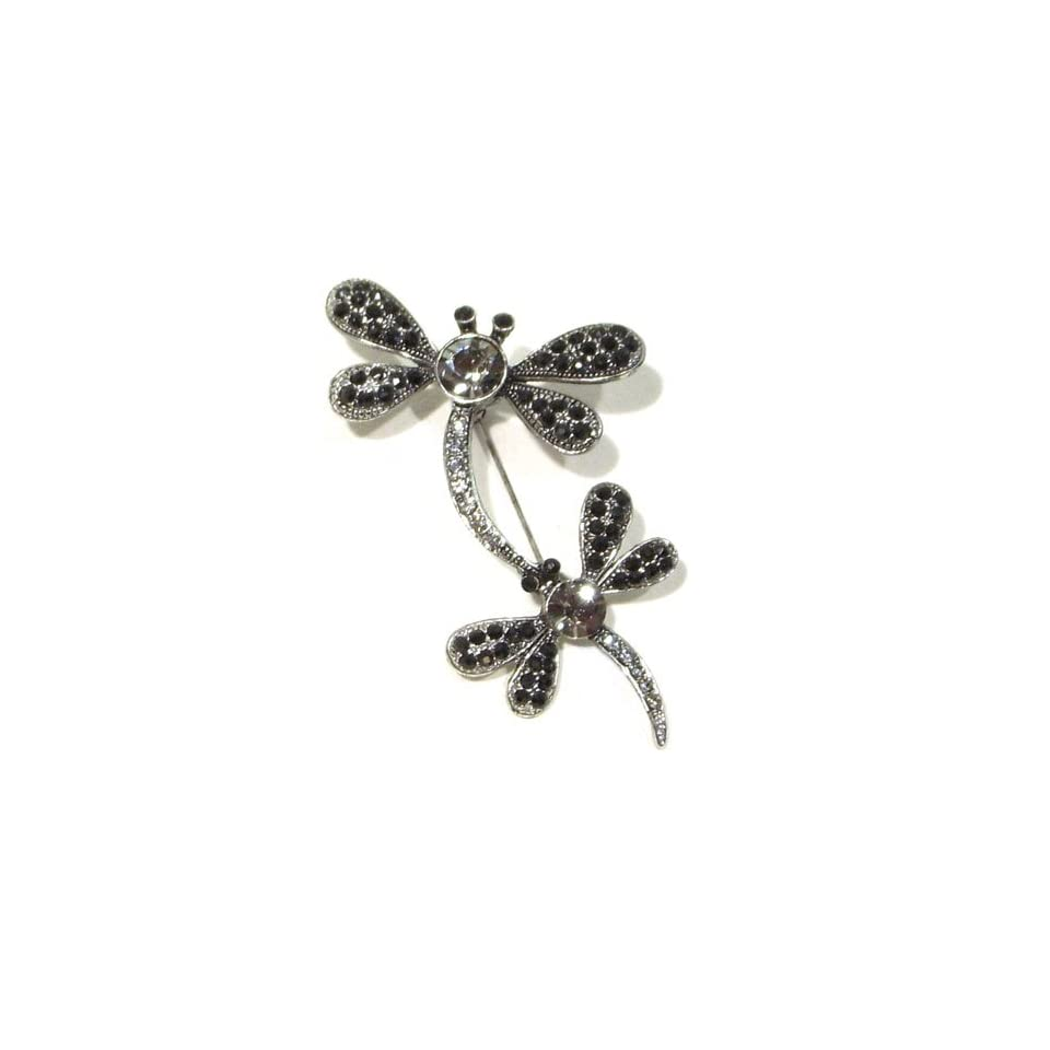 Black & Smokey Austrian Rhinestone Mother and Child Dragonfly Antique Silver Plated Brooch Pin