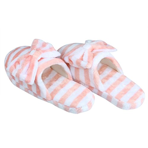 Euone Women Soft Warm Indoor Bowknot Cotton Slippers Home Anti-slip Shoes Pink zpMMMgD9