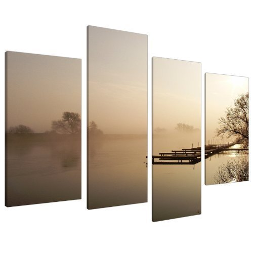 Large Brown Beige Sepia Jetty Landscape Canvas Wall Art Pictures - Multi Panel - Big Modern Split Canvases - Set of 4 Prints - XL - 130cm (Sepia Photo Art)