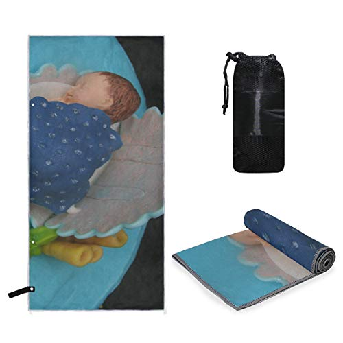 Rachel Dora Quick Dry Microfiber Camp Beach Travel Large Towel Baby Shower Cake Absorbent Travel Friendly Towels - Includes Flat Breathable Mesh Carry Bag -