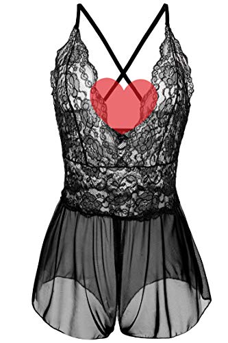 - Avidlove Women Teddy Lingerie One Piece Babydoll Mini Bodysuit Lace Pant Dress Black S