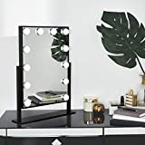 Beautify Lighted Vanity Mirror with 12x Dimmable White LED Bulbs with Touch Screen, Hollywood Style Makeup Cosmetic Tilted Mirror and Black Frame