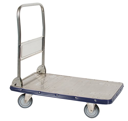 (Wesco 270458 Deluxe Folding Handle Platform Truck, Stainless Steel, 770-lb. Capacity, 34